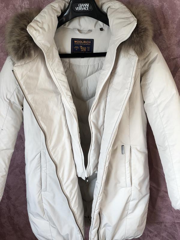 Теплый длинный зимний пуховик пальто парка woolrich  мех енота - Фото 4