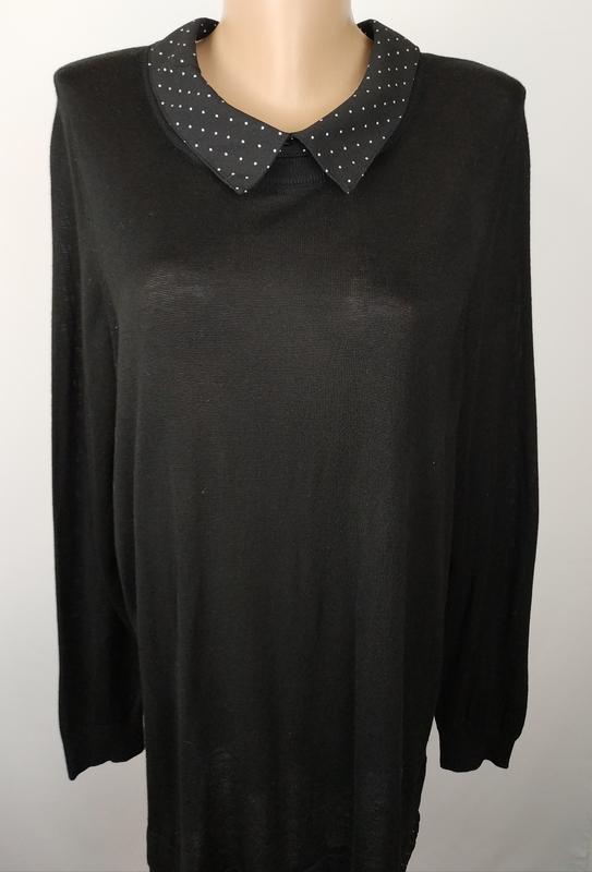 Кофта джемпер стильная большого размера в рубашечном стиле nex... - Фото 4