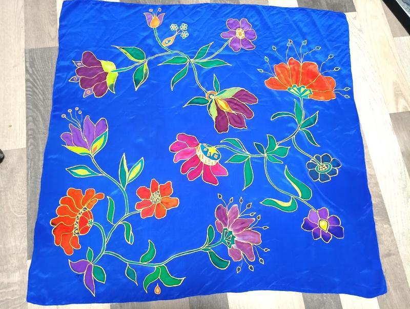 Платок ручной росписи из китайского шелка happiness - Фото 2