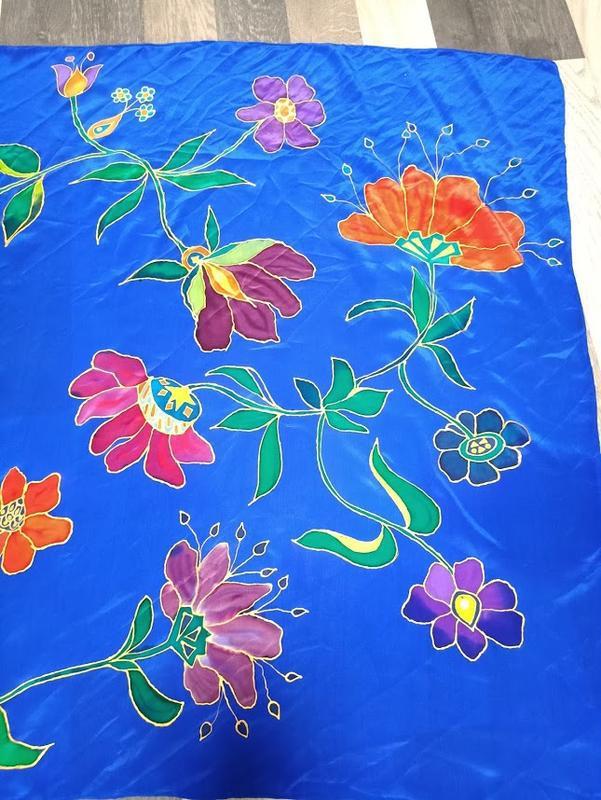 Платок ручной росписи из китайского шелка happiness - Фото 3