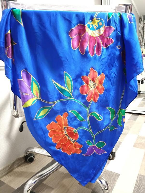 Платок ручной росписи из китайского шелка happiness - Фото 4