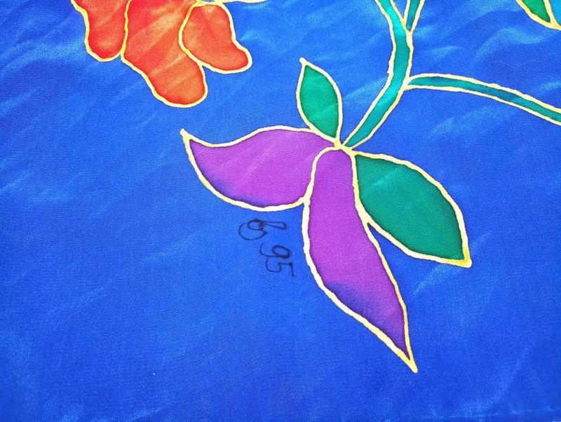 Платок ручной росписи из китайского шелка happiness - Фото 5