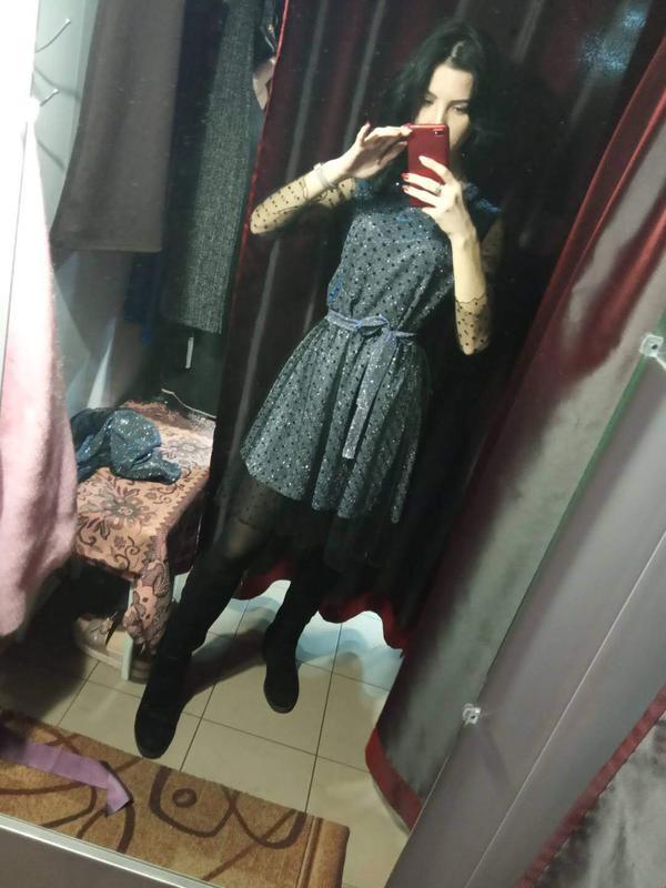 Переливающейся платье с люрекса и сеткой - Фото 2