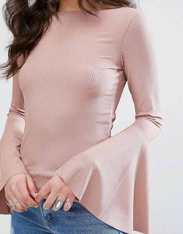 Плиссированная блуза. блуза расклешенный рукав - Фото 2