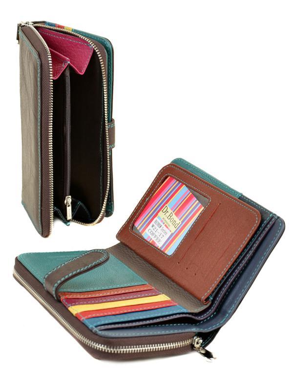 Женский вместительный кожаный кошелек Dr.Bond коричневый, синий - Фото 2