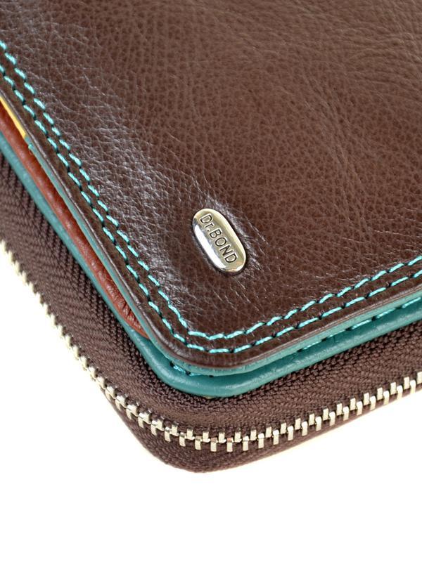 Женский вместительный кожаный кошелек Dr.Bond коричневый, синий - Фото 3
