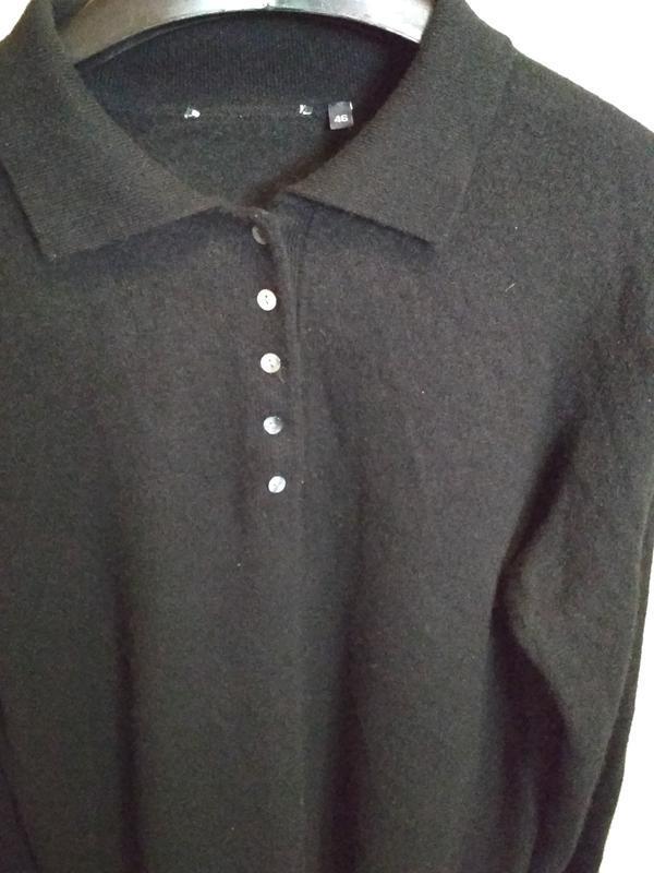 Кашемировый свитерок с воротником и пуговками, идеальный, р. 46 - Фото 2