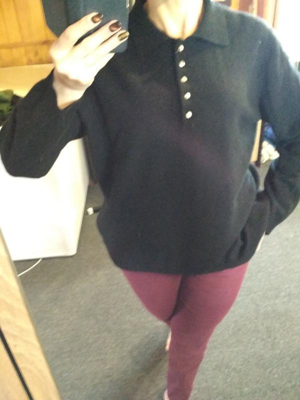 Кашемировый свитерок с воротником и пуговками, идеальный, р. 46 - Фото 4