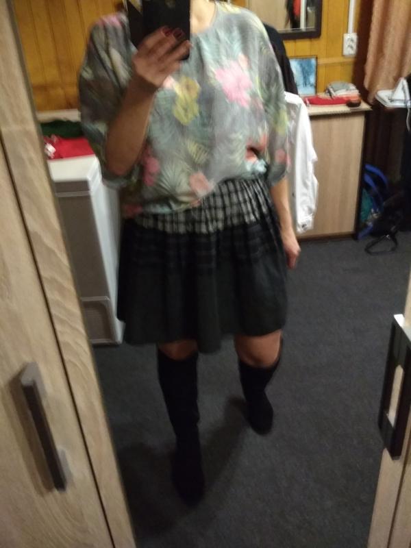 Актуальная юбка в складку, катон,р. 6-8 - Фото 2