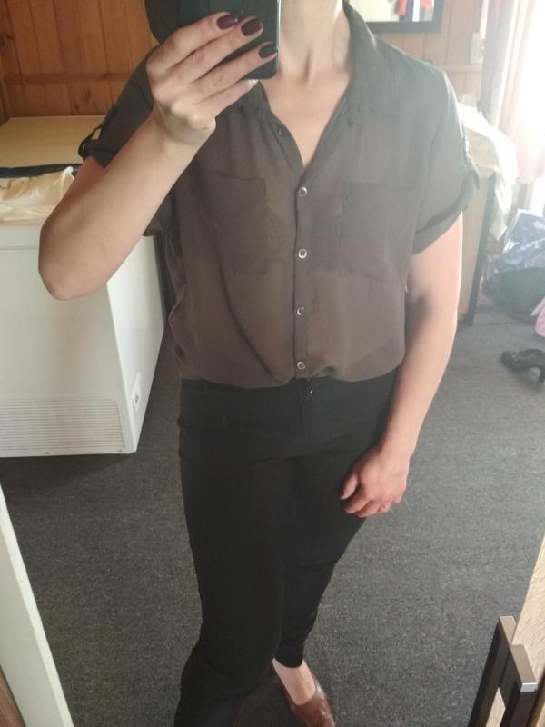 Шифоновая блуза,темно коричневый цвет,suit, p.m-l - Фото 2