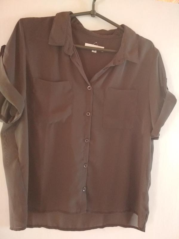 Шифоновая блуза,темно коричневый цвет,suit, p.m-l - Фото 4
