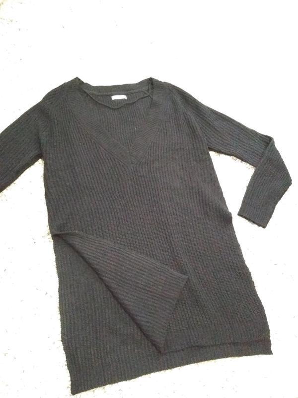Актуальный лёгкий удлиненный  свитерок с разрезами, р. 10-12 - Фото 2