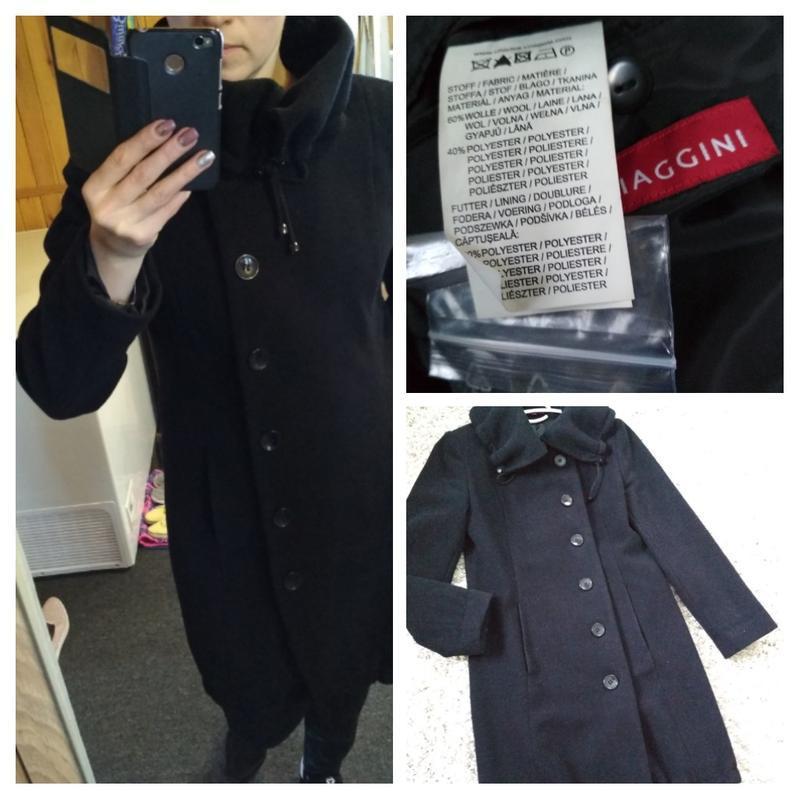 Классическое чёрное шерстяное пальто, новое, charles voegele, ...