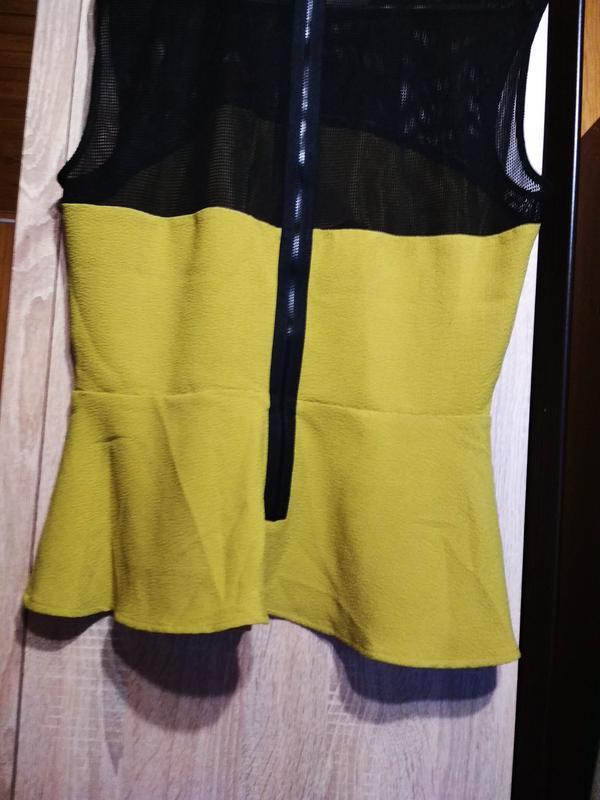 Оригинальная стильная блуза с баской,h&m, 12-14 - Фото 2