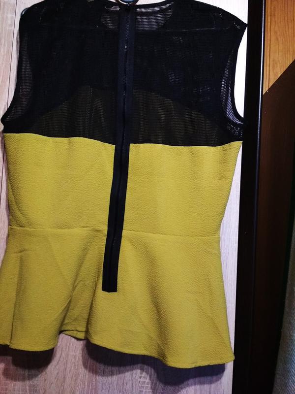 Оригинальная стильная блуза с баской,h&m, 12-14 - Фото 3