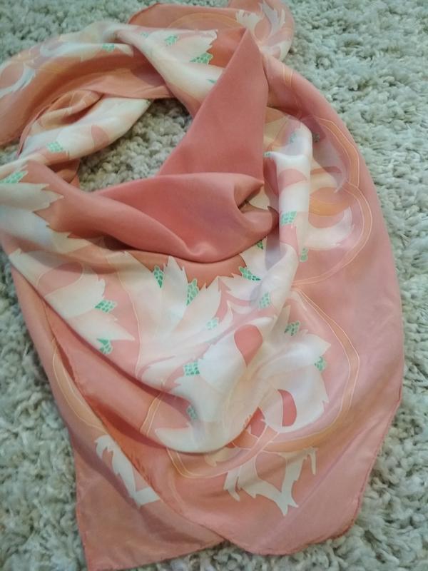 Нежный красивый шелковый платок, 80*83 - Фото 3