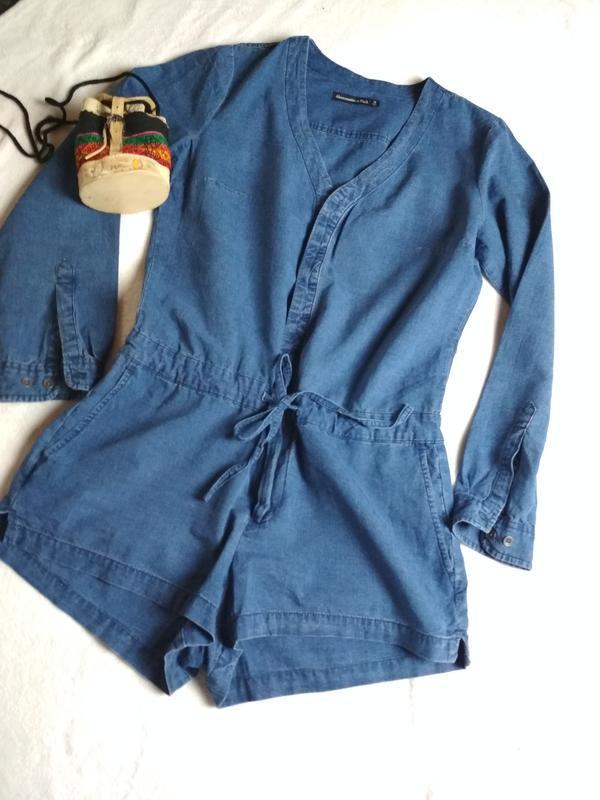 Стильный джинсовый комбинезон ромпер, abercrombie &fitch,p. 10-12 - Фото 3