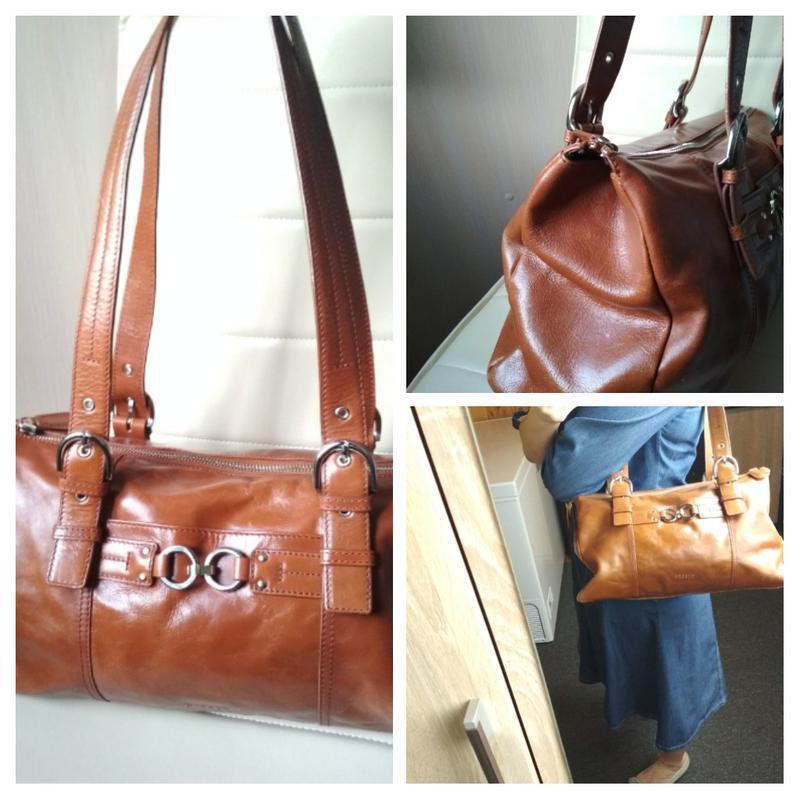 Красивая  вместительная кожаная сумка,disser