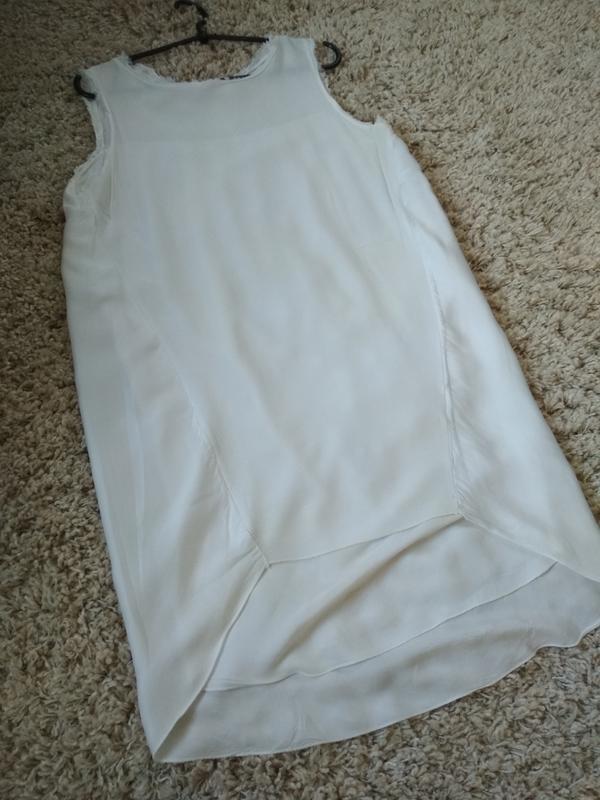 Очень стильная и комфортная блуза туника платье в молочном цве...