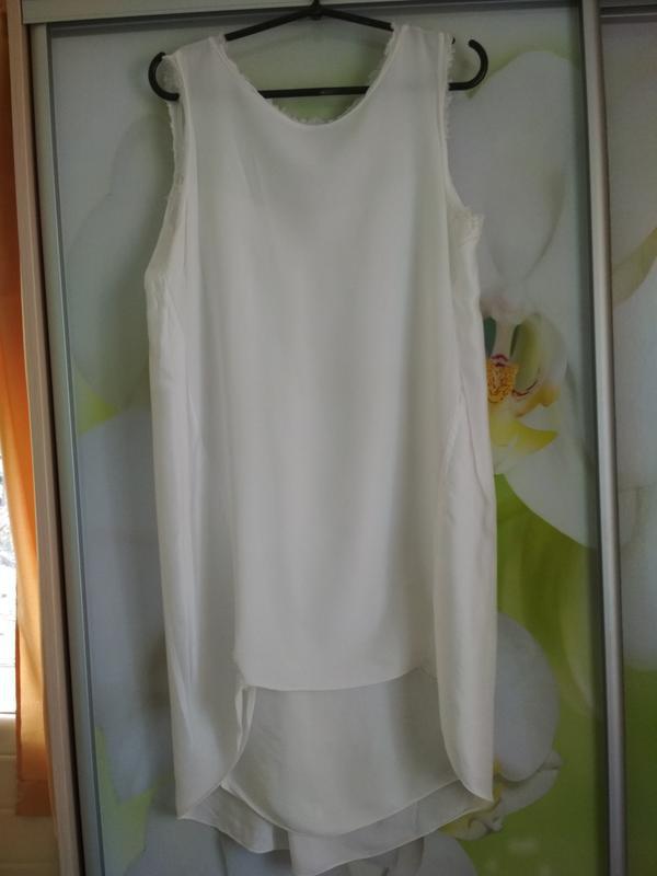 Очень стильная и комфортная блуза туника платье в молочном цве... - Фото 3
