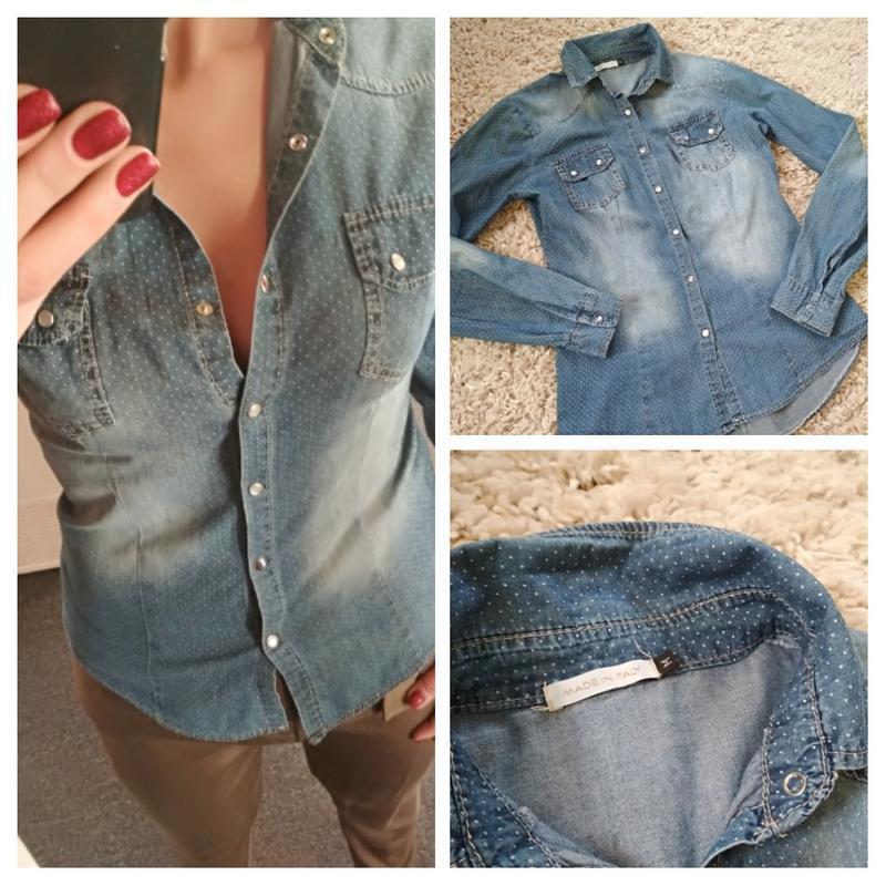 Стильная катоновая джинсовая рубашка, италия, р38/40