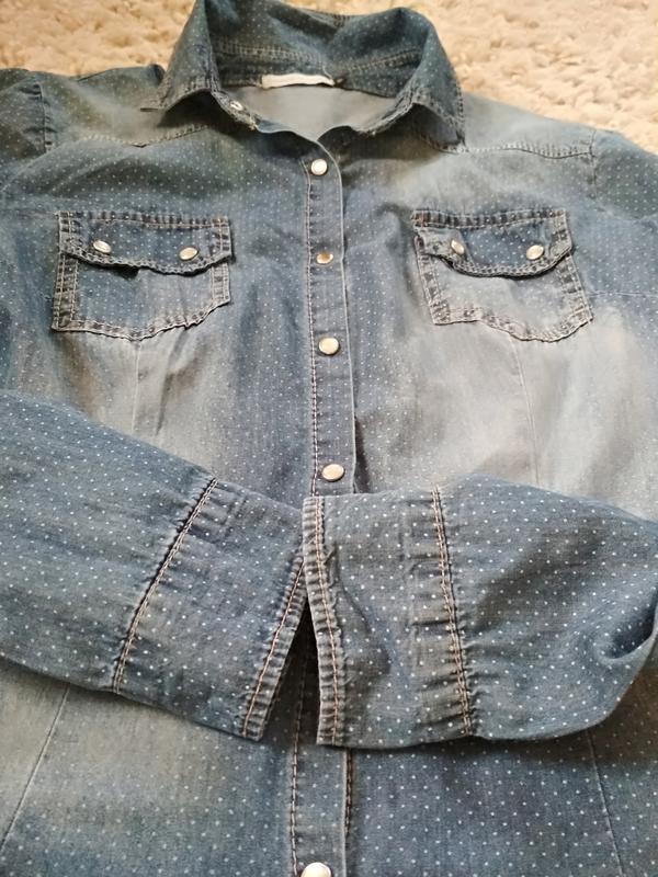 Стильная катоновая джинсовая рубашка, италия, р38/40 - Фото 7