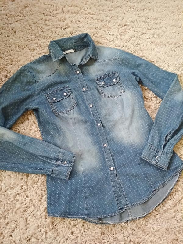 Стильная катоновая джинсовая рубашка, италия, р38/40 - Фото 8