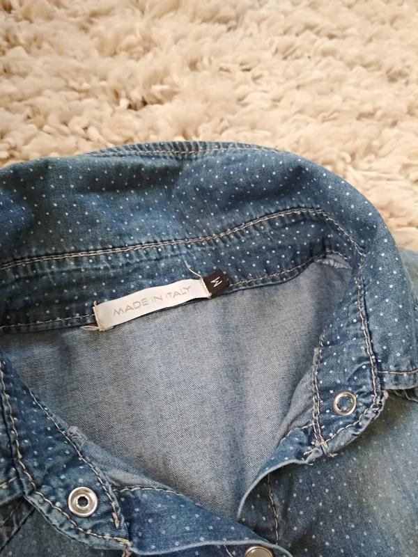 Стильная катоновая джинсовая рубашка, италия, р38/40 - Фото 9