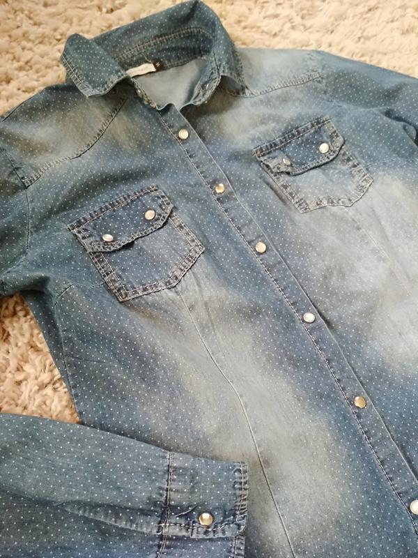 Стильная катоновая джинсовая рубашка, италия, р38/40 - Фото 10