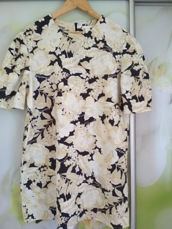 Актуальное катоновое платье в цветочный принт,h&m, p. 16 - Фото 3