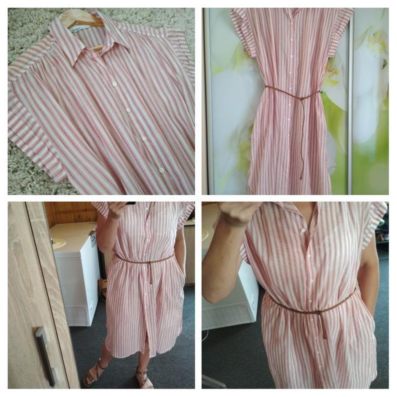 Мега комфортное стильное платье рубашка в полоску, zara, p. m