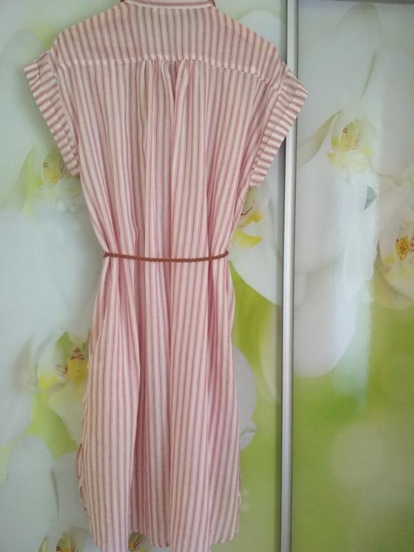 Мега комфортное стильное платье рубашка в полоску, zara, p. m - Фото 2