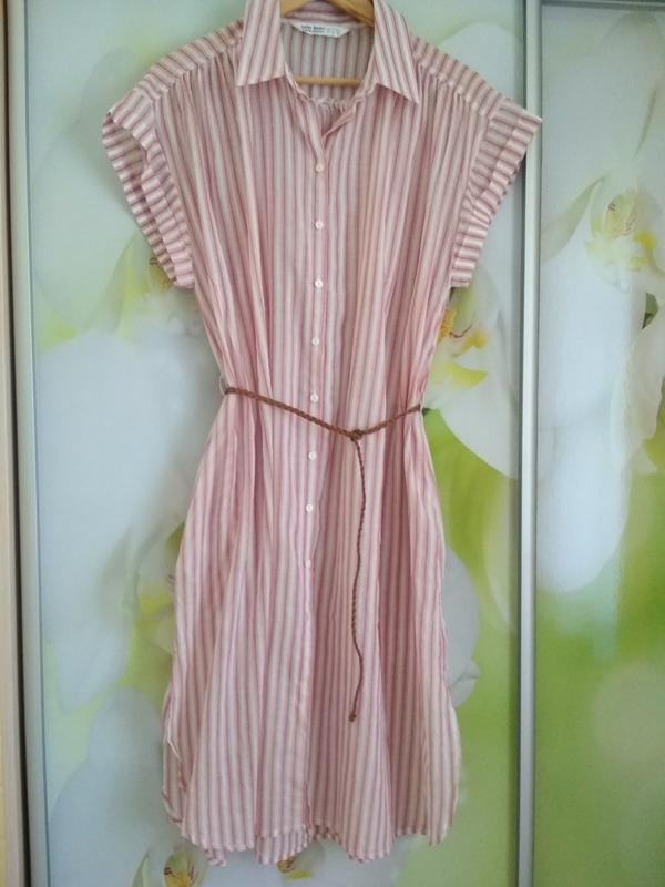 Мега комфортное стильное платье рубашка в полоску, zara, p. m - Фото 3