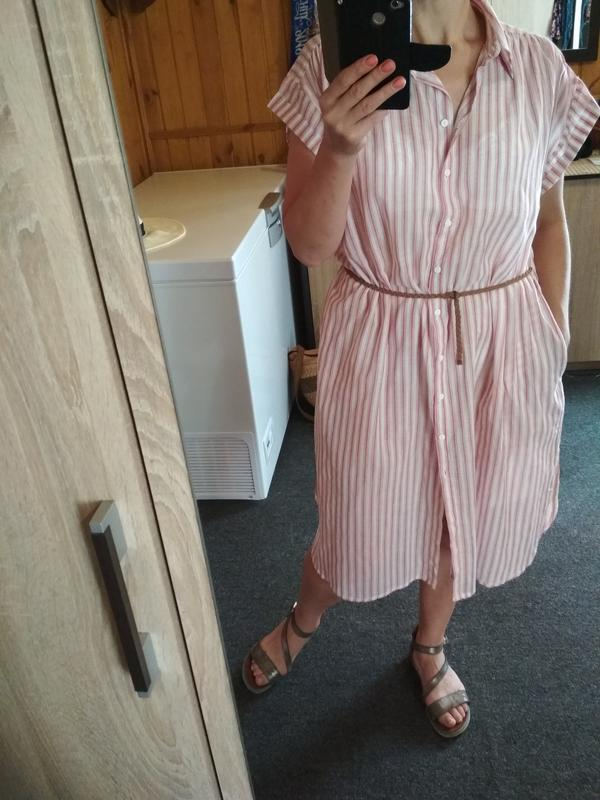 Мега комфортное стильное платье рубашка в полоску, zara, p. m - Фото 5
