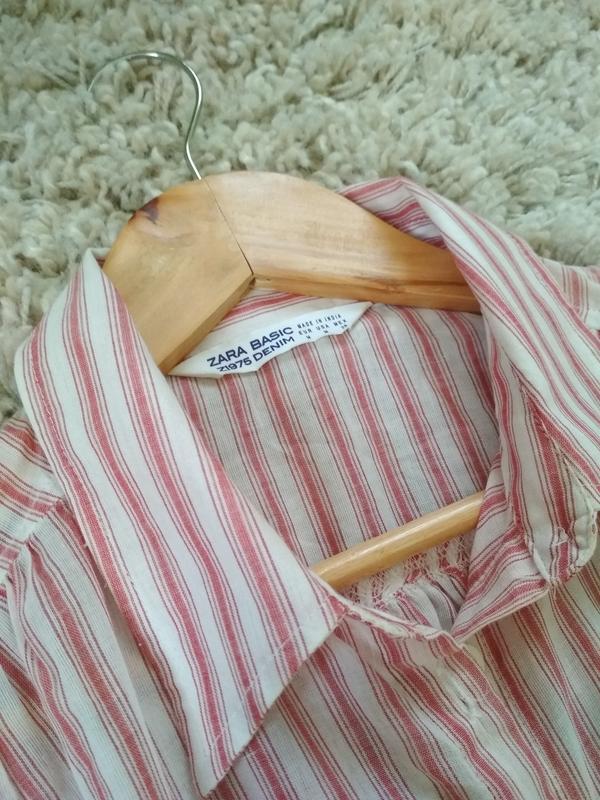 Мега комфортное стильное платье рубашка в полоску, zara, p. m - Фото 8