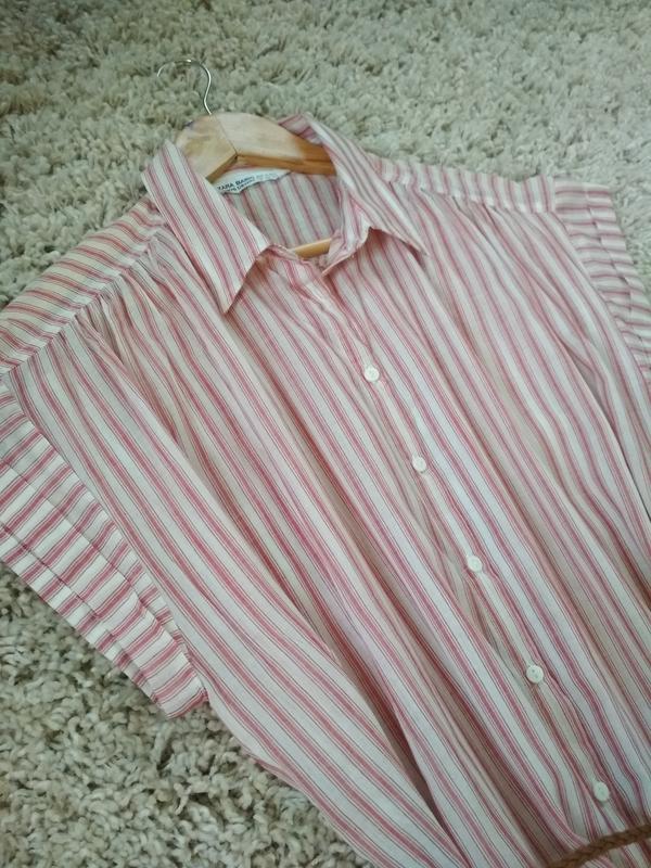 Мега комфортное стильное платье рубашка в полоску, zara, p. m - Фото 10