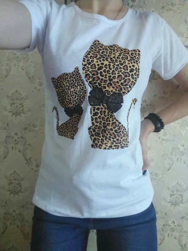 Модная женская футболка, белая женская футболка - Фото 2