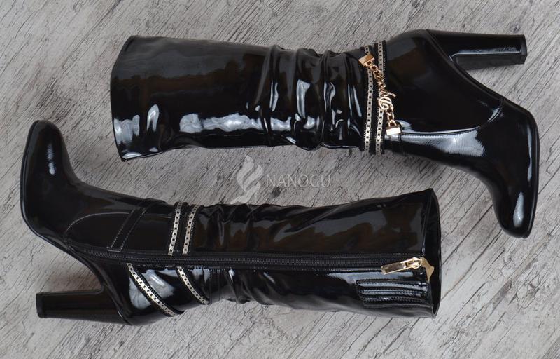 Сапоги женские на каблуке лакированные rossi черные весна-осень - Фото 3