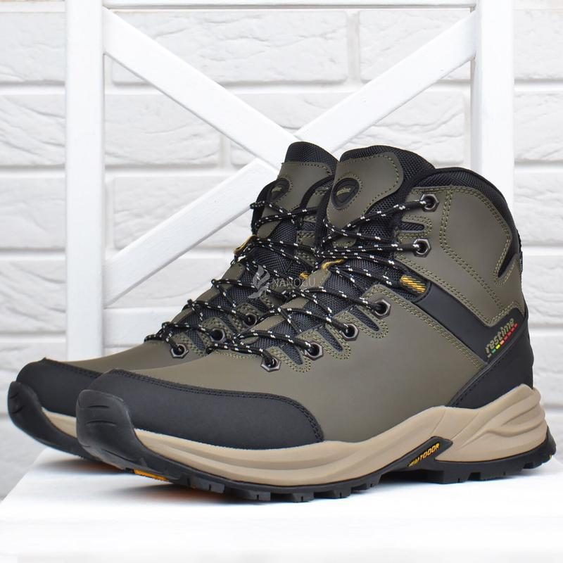 Ботинки мужские зимние термо кожаные трекинговые waterproof хаки