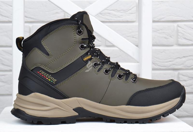 Ботинки мужские зимние термо кожаные трекинговые waterproof хаки - Фото 2