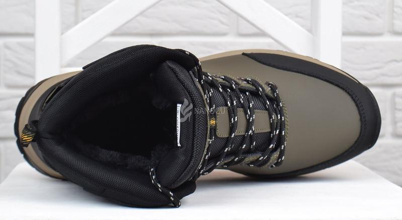 Ботинки мужские зимние термо кожаные трекинговые waterproof хаки - Фото 3