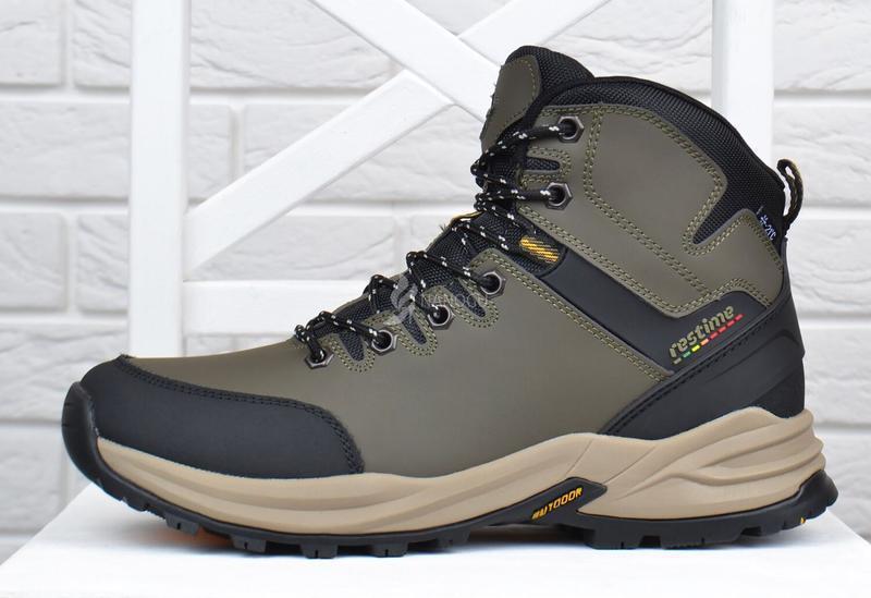 Ботинки мужские зимние термо кожаные трекинговые waterproof хаки - Фото 4