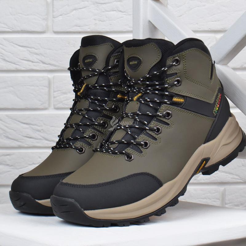 Ботинки мужские зимние термо кожаные трекинговые waterproof хаки - Фото 5