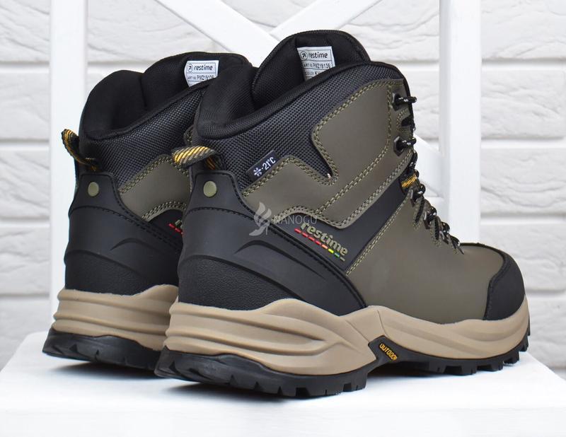 Ботинки мужские зимние термо кожаные трекинговые waterproof хаки - Фото 6