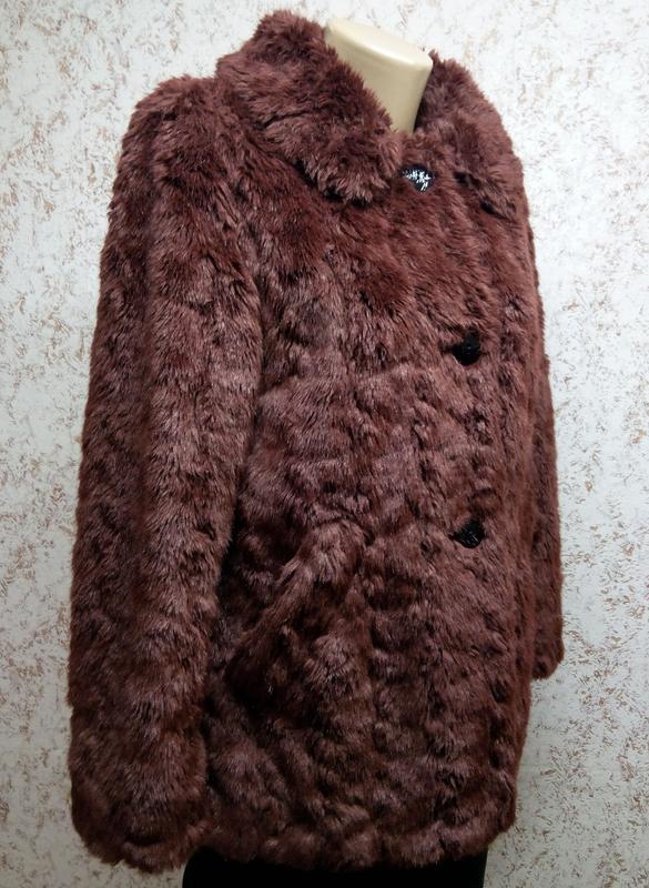 Шуба из искусственного меха бордо - Фото 3