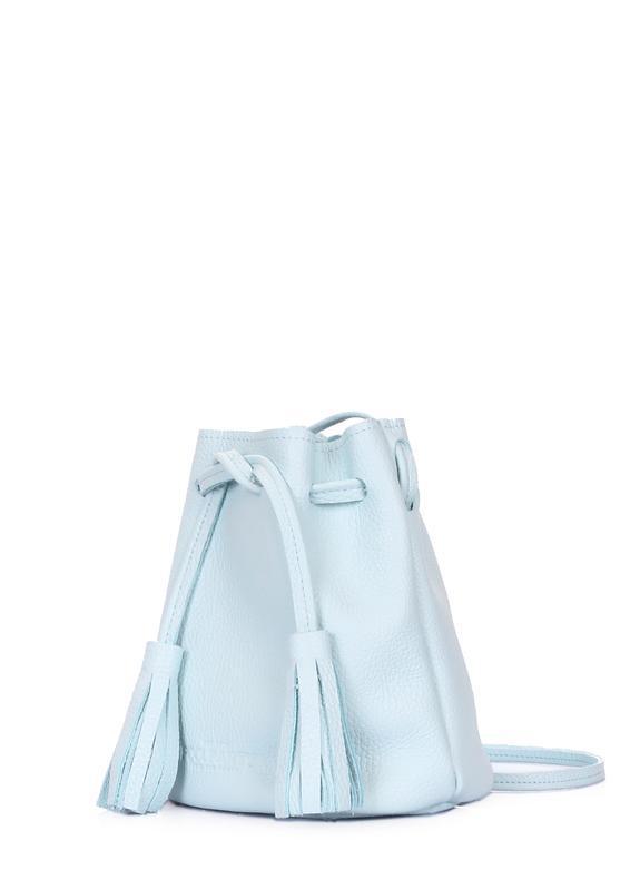 Сумка-ведро, натуральная кожа, цвет голубой - Фото 2