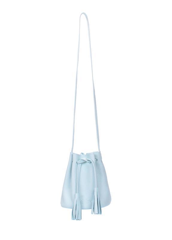 Сумка-ведро, натуральная кожа, цвет голубой - Фото 3