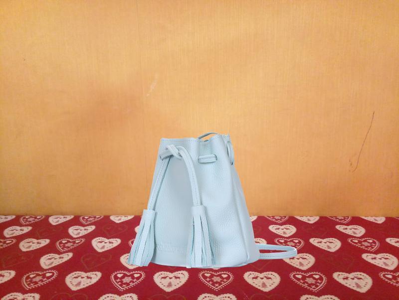 Сумка-ведро, натуральная кожа, цвет голубой - Фото 5