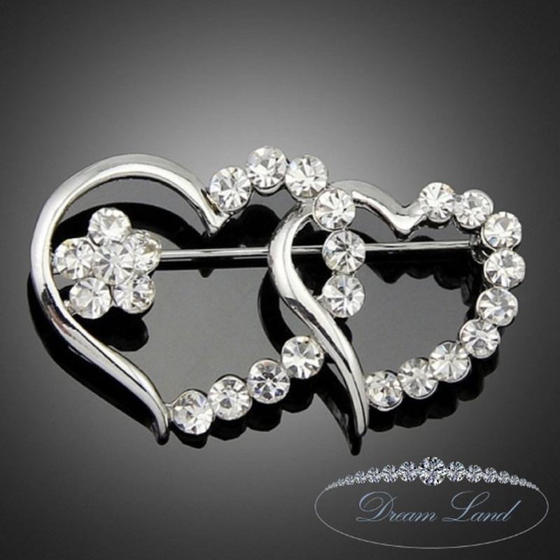 Брошь с камнями женская «волшебные сердца»