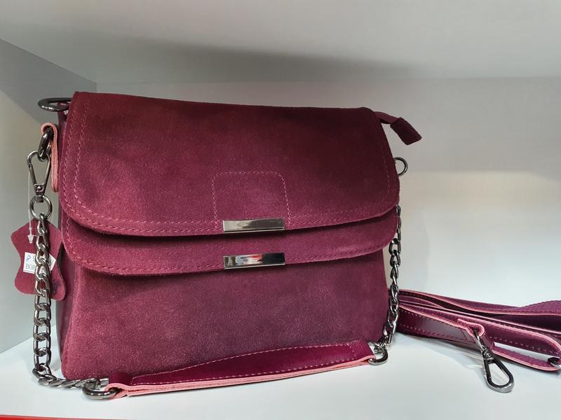 Женская сумочка- клатч из натурального замша и натуральной кожи